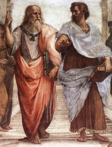 "The famous painting, ""The School of Athens"", pictures Plato and Aristotle (right)."