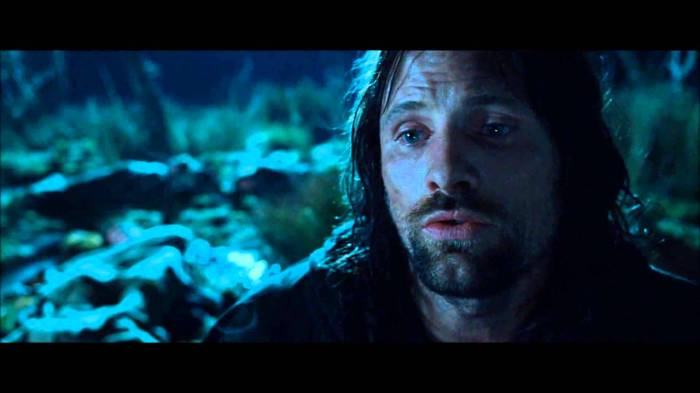 Aragorn, from 'The Lord of the Rings.'  Perhaps the only character who portrays by analogy, the figure of Christ, who has a song to sing over his people.