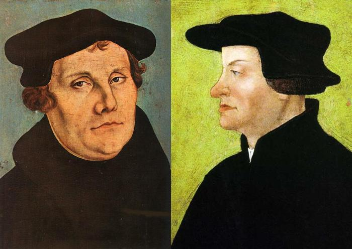 Luther on the left of the pro-real presence church and Zwingli on the right of the anti-real presence church!